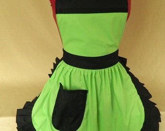 Retro Vintage 50s Style Full Apron / Pinny - Lime Green & Black