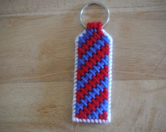 Patriotic  Keychain, Plastic canvas, Zig Zag Pattern, Car Accessories, Car Keys
