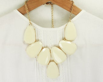 Gold Framed Ivory Stone Bib Necklace . Bridal Necklace , Bridesmaid Necklace .