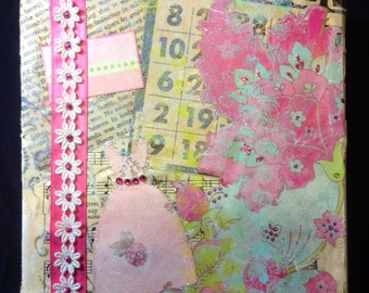 Mixed Media Collage in Pink