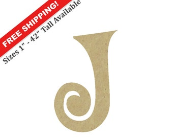 """Curly Wooden Letter """"J"""" – Unfinished, Unpainted, Decorative Font -- Perfect for Crafts, DIY, Nursery, Kids Rooms, Weddings – Sizes 1"""" to 42"""""""