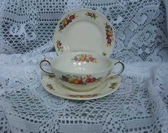 Vintage Marlborough Royal Petal Grindley England Cream Soup Bowl and Under Plate Circa 1950s