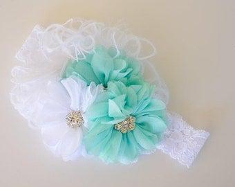Flower Girl Headband, Aqua and White