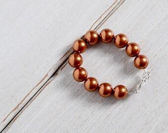 Pearl Newborn Bracelet, Copper Swarovski Pearls Bracelet