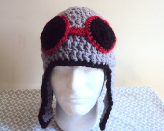 Crochet Aviator Hat Pilot Hat Biker Hat with Ear Flaps Winter Hat Crochet Chunky Hat Accessories Gift Ideas