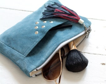 Recycled make up bag / 100% repurposed natural blue leather / mini clutch bag