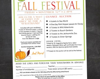 School or Church Fall Festival, Harvest Festival - Event Custom Printable - flyer - color or black and white