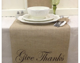 """Burlap Table Runner 16"""" & 18"""" wide with FINISHED edges and Give Thanks on the ends - longer lengths"""