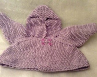Pretty little knitted newborn hooded cardigan