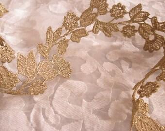 vintage style gold crochet lace trim, bridal wedding veil gown lace