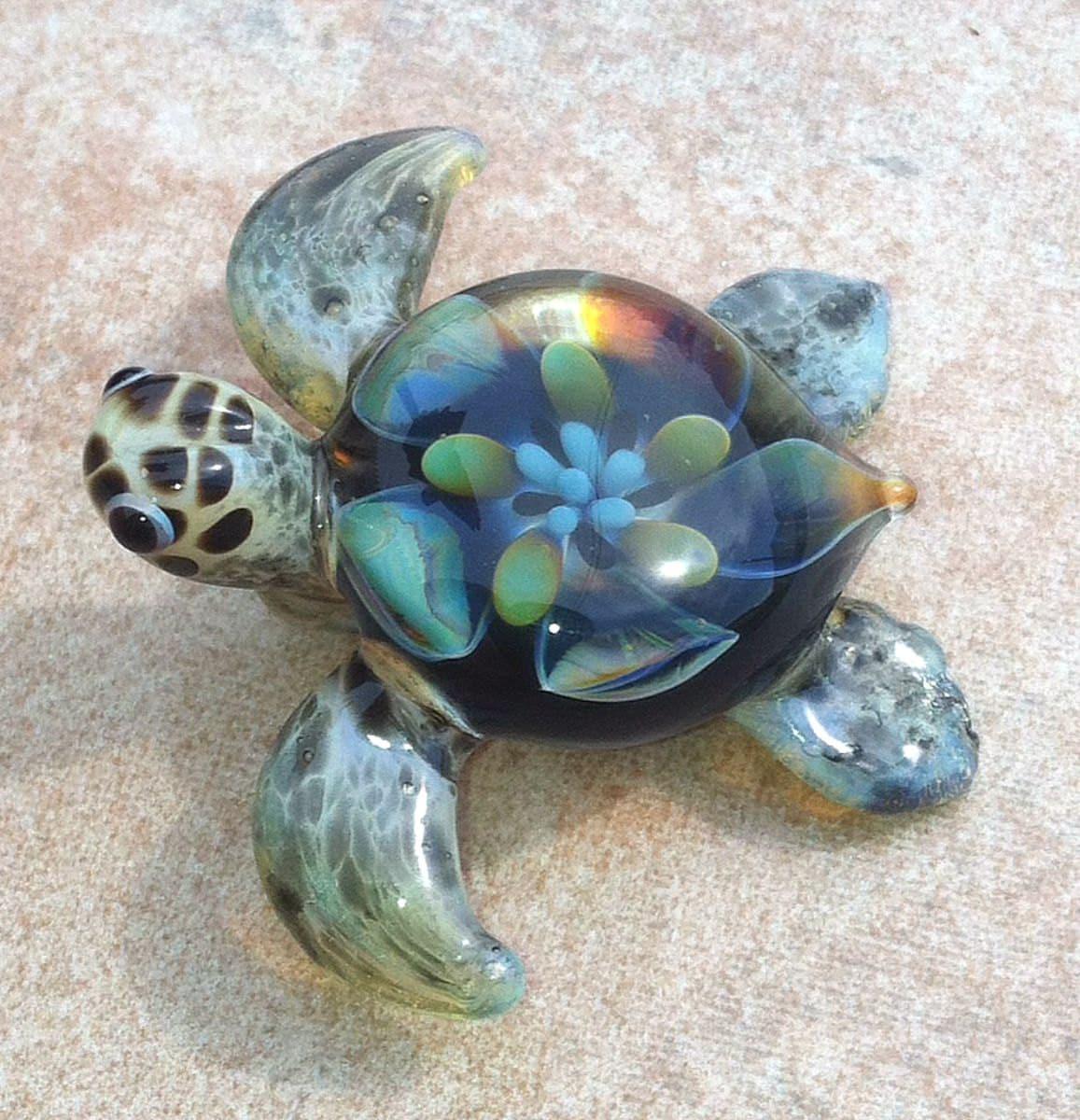 Baby sea turtle necklace glass beads pendant handmade custom for Baby jewelry near me