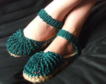 Crochet Nylon Shoes with Jute Sole