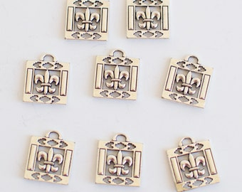 6 Pieces Charms Square Fleur De Lis Double Sided Pendant Charm 20x28mm, Square Fleur De Lis, Fleur, Antique Silver Finish 6-8-S