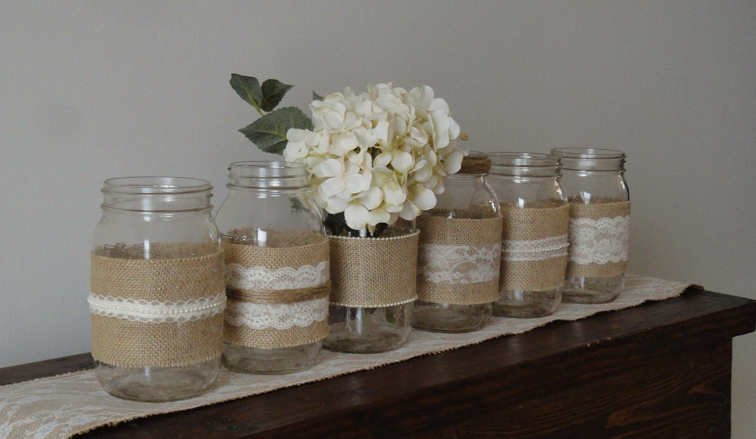 Wedding mason jarsburlap lace mason by whimsychicdesigns for Room decor ideas with mason jars