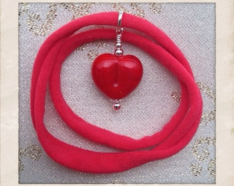 ON SALE Red Heart Necklace