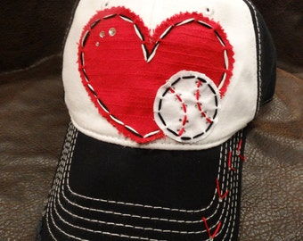 Baseball Love Patchwork and Crystal Baseball Cap