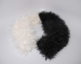 Black and white fluffy scarf super sparkle