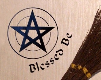 Solid Pentacle with Blessed Be  Vinyl Decal Wicca Pagan  Pentacle  Pentagram  15 cm x 15 cm