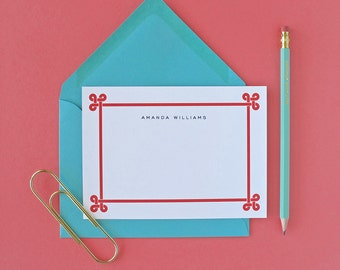 Loop Border Personalized Stationery - set of 15