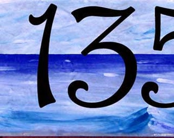 Beach house number plaque, Ocean house numbers