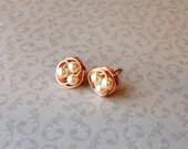 Rose Gold Cluster Pearl Earrings, Birds Nest Earrings, Rose Gold Wire Wrapped Stud Earrings, Bridesmaid Earrings, Post Earrings