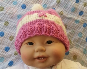 Pink baby hat - baby girl's hat - hand knit wool beanie - baby hat - babies wool hat