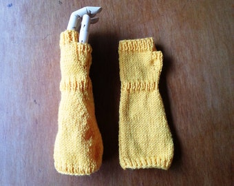 Fingerless gloves - yellow baby gloves - extra long baby arm warmers - long baby hand warmers