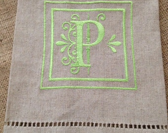 Embroidered Linen Cotton Kitchen Towel