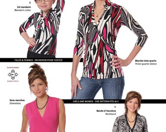 Jalie Faux-Wrap Knit Top in 4 Views Sewing Pattern # 2910 - 27 Sizes for Women & Girls