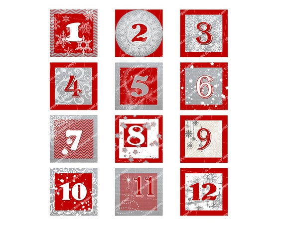 Printable DECEMBER DAILY NUMBERS Squares 3 2 1.5 Or 1