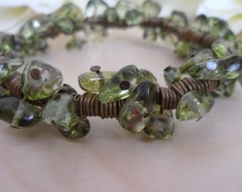Sea Green and Bronze Spiral Bracelet