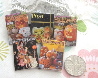 dollhouse halloween magazines vintage and modern x 5 for display 12th scale miniature