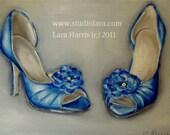 Custom Wedding Shoes Painting in OIL by LARA 11x14 High Heels