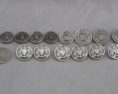 Vintage Metal Buttons Silver Tone Crest Buttons Lion Horse Emblem Buttons Lot of 14