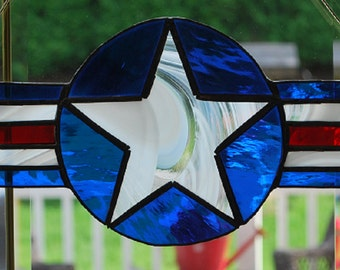 US Air Force stained glass suncatcher, wall hanging