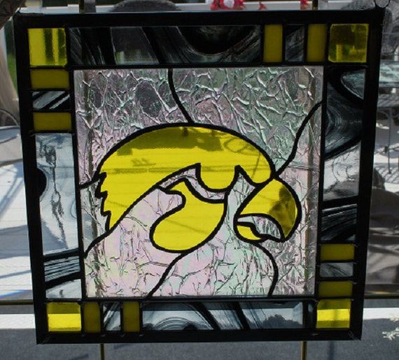Stained glass iowa hawkeye panel black border by manemannart for Iowa hawkeye decor