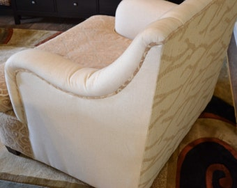 Oversize Upholstered Vintage Up-Cycled Chair with Cream and Tan