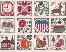 The Prairie Schooler A Prairie Year Primitive Seasonal Counted Cross Stitch Patterns