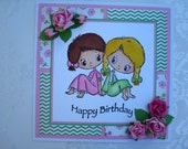 Happy Birthday Handmade Hand Colored Card with Roses - Perfect for Best Friends, Sisters or Anyone Celebrating a Birthday!