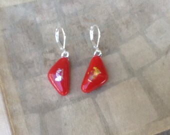 Red Angle Glass Fusion Earrings With Silver Plate Hinged Loop