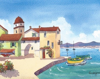 Watercolour Print, St Tropez Harbour, South Of France, Gift Idea, Art And Collectibles