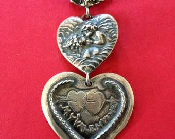 "T Foree Sterling Silver Heart and Cherub ""My Valentine"" Brooch"