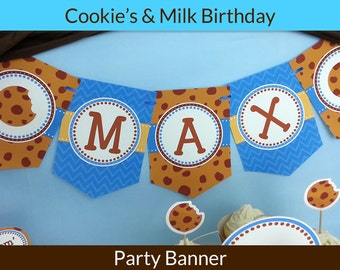 FREE SHIPPING Cookie and Milk Party Banner | Milk and Cookies Birthday Banner