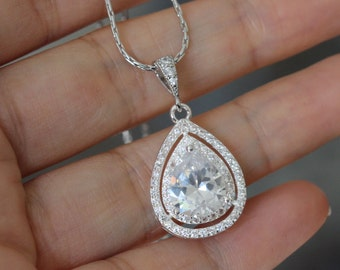 cubic zirconia necklace , wedding drop necklace , bridesmaid necklace , bridal necklace