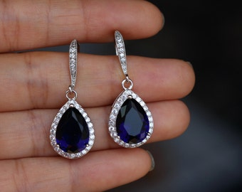 dark sapphire blue earring , cz sapphire earring , drop wedding earring , blue bridesmaid earring