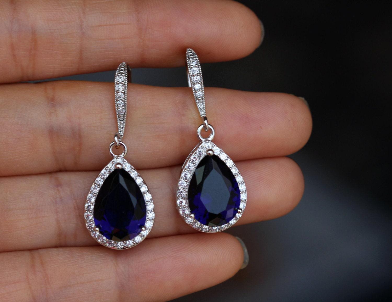 dark sapphire blue earring cz sapphire earring drop