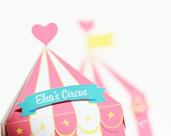 Circus Tent Favor Box, Gift Box, Girly Party, Circus Party Favor, Circus Party Centerpiece, Circus Wedding, Carnival Party, Carnival Wedding