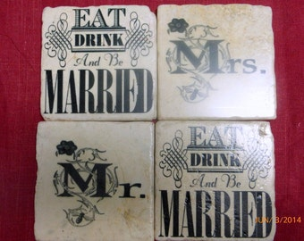 Personalized  Wedding coasters - Mr & Mrs Travertine Tile Coasters - Stone Coasters - Eat Drink and be Married coasters - Wedding gift