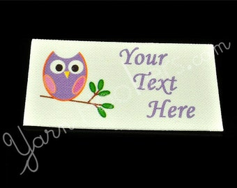 Happy Owl  - White Cotton Custom Printed Labels / Sew in Clothing labels / Personalized Fabric Labels - For Crochet, Knit, Sewing