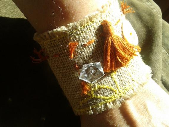 Sun Tribal Bracelet Handmade Burlap Yellow Embroidered Sun Clear Crystal Mother of Pearl Buttons Fox Bamboo Tassel #sophieladydeparis